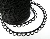 Nakpunar 5 Yards Black Non Elastic Button Loops for Wedding Dresses, Gowns, Corset Closures (5 Yards)