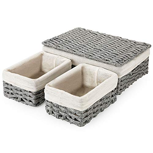 Wicker Storage Baskets with Lid and Handles SAWAKE Woven Shelf Baskets Set for Storage Organizing Handmade Decorative Storage Bins for Bedroom Shelf Closet Set of 3 Grey