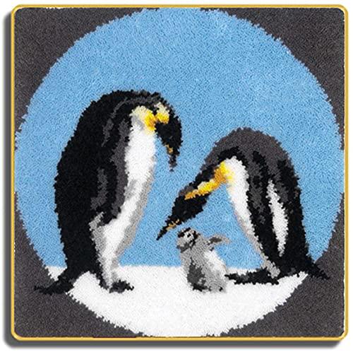 SKTWOE Kit De Alfombras De Punto Pingüino Kits De Tapices/Kits De Fabricación De Alfombras Kits De Bordado Regalo Creativo Kit De Manualidades Hechas A Mano 45Cm X 45Cm