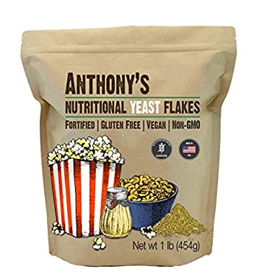 Premium Nutritional Yeast Flakes - Fortified Batch Tested and Verified Gluten Free Great source of fiber, vitamins and minerals - Plant Based Protein Source Fortified with B Vitamins including Folic Acid and B12 (produced by natural fermentation - no...