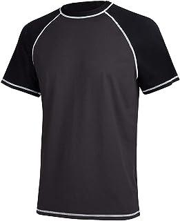 Satankud Men's UPF 50+ Rashguard Swim Tee Short Sleeve Sun Shirt Swimwear Swim Shirts