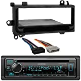 Kenwood Single DIN Bluetooth SiriusXM Ready CD Player Car Stereo Receiver, Wiring Harness, Installation Kit - Fits 1974-2003 Chrysler, Dodge, Eagle, Jeep, and Plymouth Vehicles