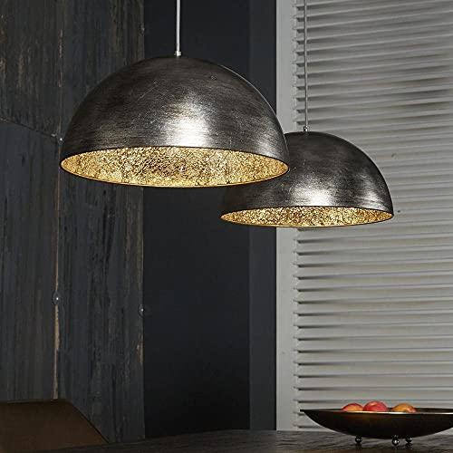 famlights Wohnzimmer Hängelampe   Vintage Lampe silber  Pendelleuchte Industrial / 2-flammig Dimmbar Fassung: E27 Pendelleuchte Schwarz Gold   Küchen Lampe / E27