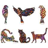 WILLBOND Juego de 6 Piezas de Alfileres de Broche con Forma de Animal Broche de Solapa para Gato y Pájaro Unisex Broche de Insignias de Esmalte