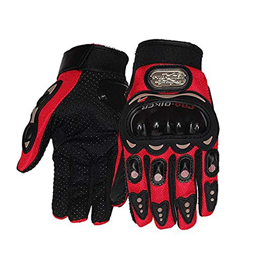 Probiker Leather Motorcycle Gloves (Red, M)