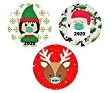 Mini Christmas Magnets for Fridge, Car, Funny 2020 Christmas Remembrance Magnetic Decal Santa, Elf, Reindeer, Set of 3, 3 3/4 Inch