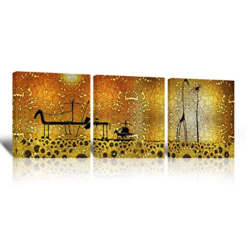 Mon Kunst, tele artistiche, tele dipinte con opere d'arte astratta divise su 3 pannelli, decorazione d'arte moderna da parete, quadri decorativi adatti alla camera da letto, Black, 40cmx40cmx3 UnFramed