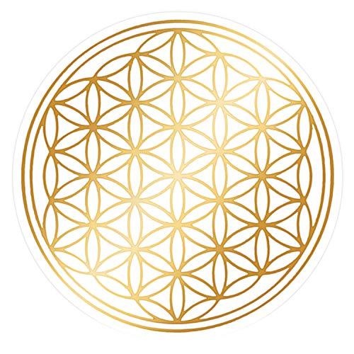atalantes spirit Blume des Lebens Haftfolie 21cm, 1 Stück - Farbe Gold glänzend - Folie transparent Folie selbsthaftend