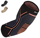 Kunto Fitness Elbow Brace Compression Support Sleeve for Tendonitis, Tennis Elbow, Golf Elbow Treatment - Reduce Joint Pain During Any Activity! (Medium)