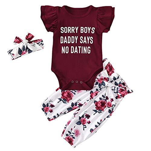 Geagodelia 3tlg Babykleidung Set Baby Mädchen Kleidung Outfit T-Shirt Top/Body + Hose/Shorts Neugeborene Kleinkinder Weiche Babyset 0-4 Jahre (6-12 Monate, Hosen & Body Sets - Rot)