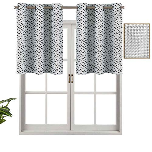 Hiiiman Short Curtains Grommet Top Elegant Panels Brush Strokes Pattern with Math Symbols Plus Sign Monochrome Illustration, Set of 1, 54'x18' Decoration for Bathroom/Bedroom/Living Room