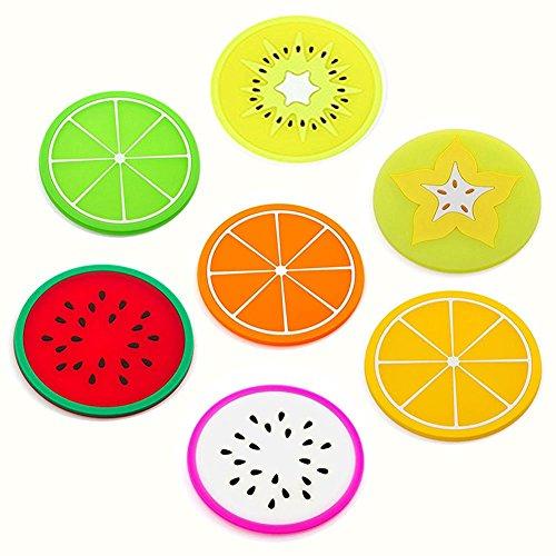 Wicemoon 7per Fruit Slice Silicone Coaster, Dessous de Silicone Coaster – Fruits Style(Couleur immédiatement)