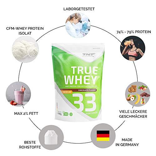 TNT True Whey (CHOCOLATE) – Whey Protein Konzentrat & Whey-Isolat – Post Workout Shake – Hohe Bioverfügbarkeit und hoher Anteil an Aminosäuren – BCAA – Proteinshake zum Muskelaufbau und Abnehemen -1000g Beutel - 5