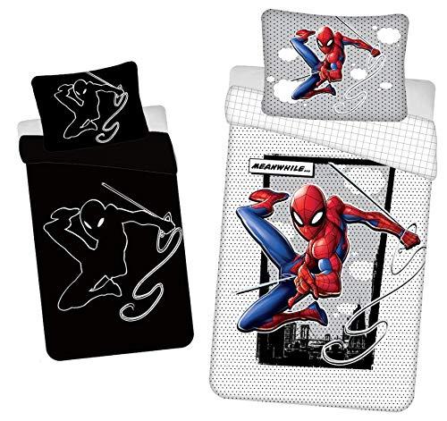 Disney - Juego de cama (140 x 200 cm, 70 x 90 cm, 100% algodón), diseño de Spiderman