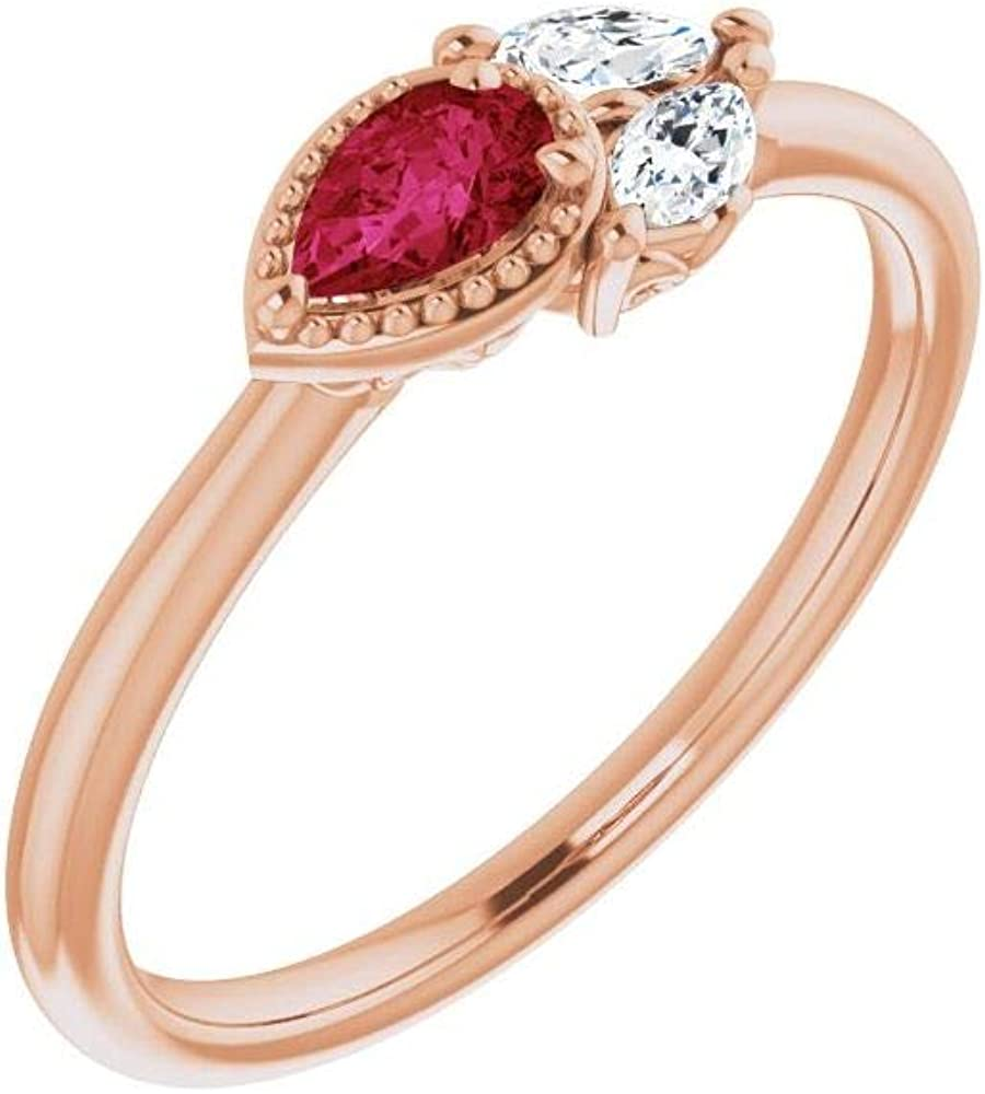 Solid 14k Rose Gold Solitaire Ruby and 1/8 Cttw Diamond Ring Band (.13 Cttw) (Width = 6.3mm) - Size 5