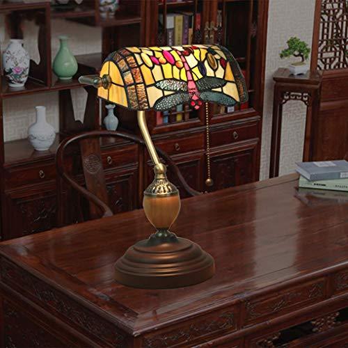 DALUXE Lámparas Tiffany Lámpara de Mesa Banqueros Tradicionales Lámpara de vidrieras Lámpara de Noche de la Cama de la Cama con la línea de Plomo Interruptor de la Vida