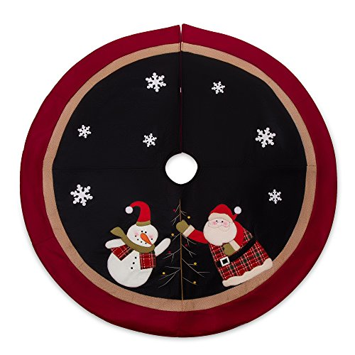 SANNO 48' Christmas Tree Skirt with Santa, Burlap Rustic Xmas tree Decorations Skirts Holiday Ornaments,Sonwman black with Double Edges