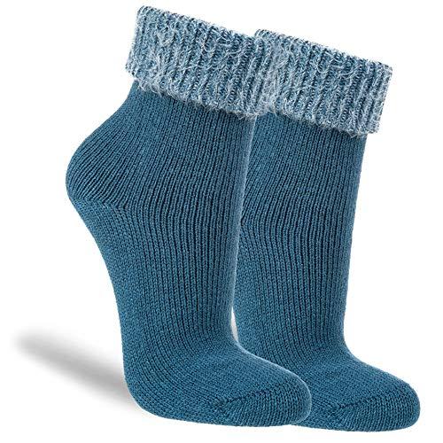 NewwerX 3 Paar Flausch-Söckchen, Baumwoll-Socken für Damen, Kuschelig warm & flauschig (Petrol, 35-38, numeric_35)