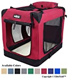 EliteField 3-Door Folding Soft Dog Crate, Indoor & Outdoor Pet Home, Multiple Sizes and Colors Available (30' L x 21' W x 24' H, Maroon)