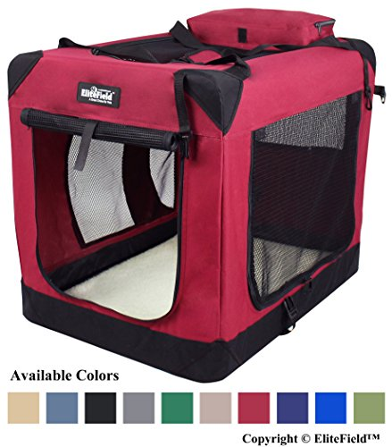 "EliteField 3-Door Folding Soft Dog Crate, Indoor & Outdoor Pet Home, Multiple Sizes and Colors Available (20"" L x 14"" W x 14"" H, Maroon) Basic Crates Dog Supplies Top"