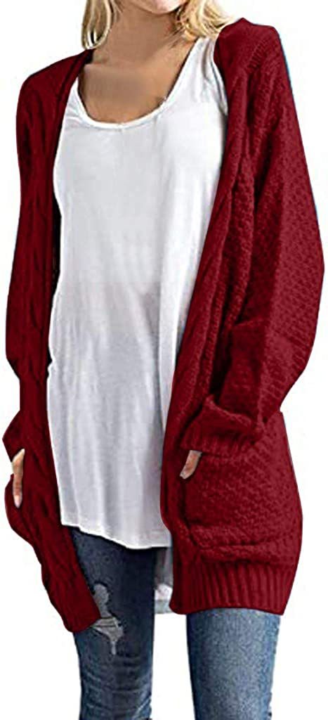 Long Sleeve Cardigan Sweaters for Women Knit Ribbed Tops Lightweight Open-Front Cardigan Winter Casual Loose Coat