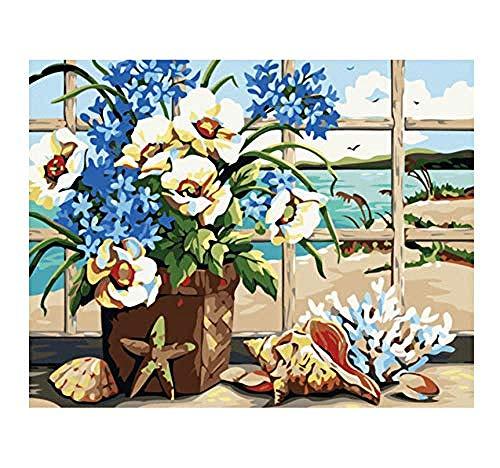GEZHF Bonitas flores sin marco para pintar por números, pintadas a mano, coloreadas por números, pintura, pintura, decoración para el hogar, dibujo de lavanda, 40 x 50 cm