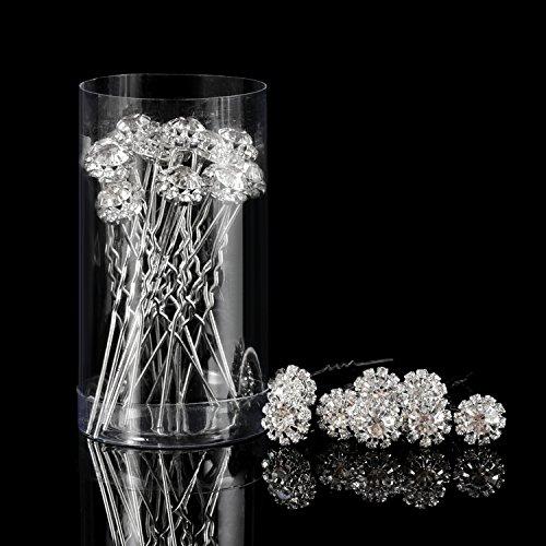 Strass Haarnadeln Kristall Blume U Form Pins Diamante Twists Hochzeit Braut Haarspangen Zubehör, 20 Packung