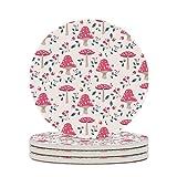 Perstonnoli Posavasos redondos de cerámica con diseño de setas y flores, con dorso de corcho, juego de 4 posavasos decorativos para bebidas, tazas, bares, cristal, 10 cm, color blanco, 4 unidades