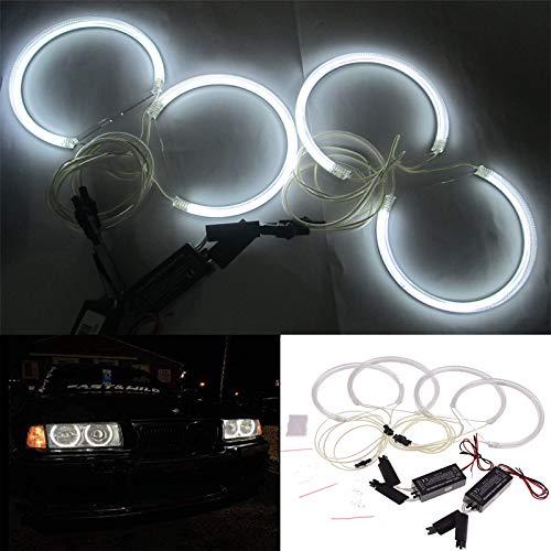 MCHUN Set 4 Pieces of 131mm White CCFL Halo Rings Angel Eyes Light For BMW E36 E38 E39 E46 3 5 7 Series