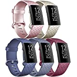 Tobfit [5 Pack] Wristbands Compatible with Fitbit Charge 4 Bands and Fitbit Charge 3 Bands for Women Men, Soft Silicone Sports Bands, Rose Gold/Gold/Wine red/Slate Gray/Navy Blue, Small