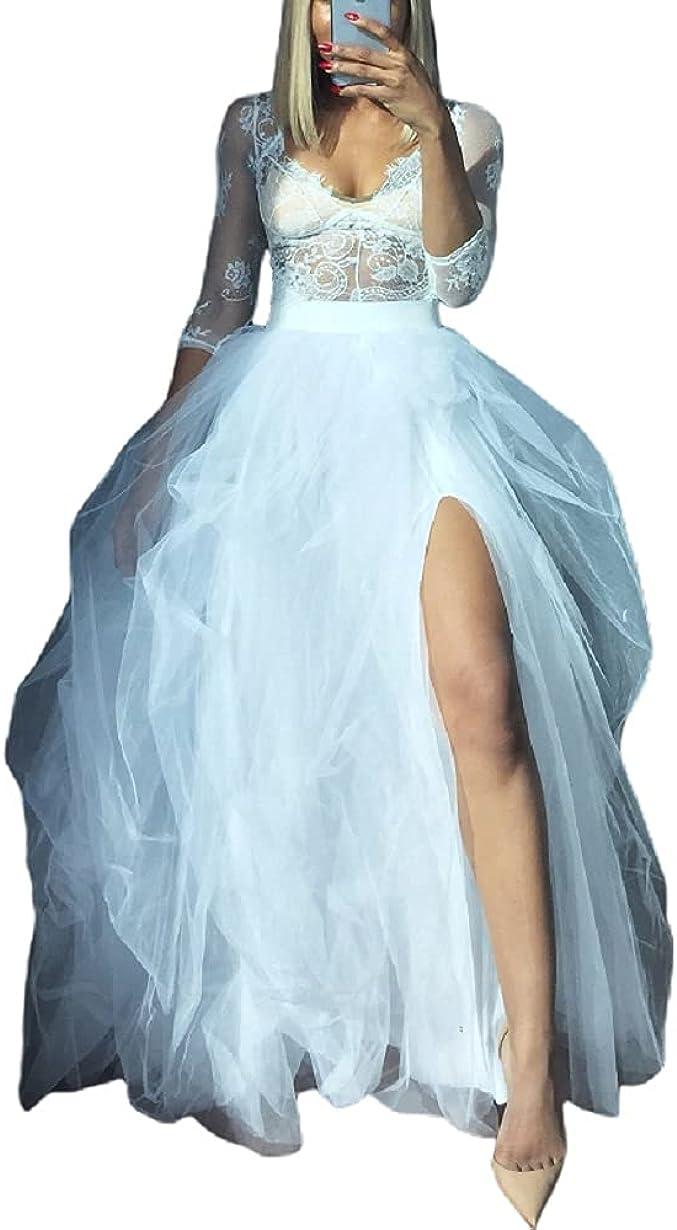 Women Tulle Floor Length Maxi Skirt Wedding Planning High Waist Puffy Bustle Night Out Party A-line Skirt