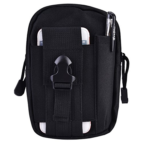 Alomejor Gürteltasche, strapazierfähig, wasserfest, multifunktional, Unisex, für den Außenbereich, tragbare Sporttasche, Schwarz