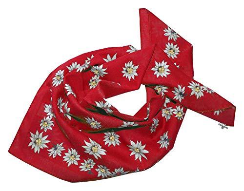 Trachtenhalstuch Trachtentuch Halstuch Edelweiß Trachten Damen Herren Nickituch Edelweißtuch Rot