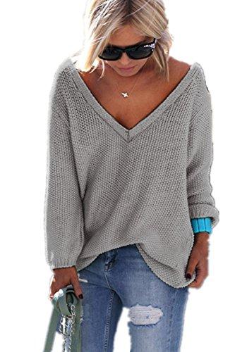 YACOPO Damen Herbst und Winter Arbeiten lose mit Langen Ärmeln V-Ausschnitt-PulloverSexy Pullover mit V-Ausschnitt Pulli tollen Farben - 12 Farben und 4 Größen, Grau, Asien...