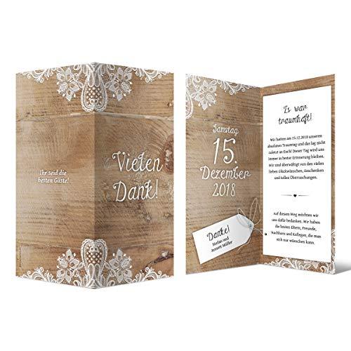 30 x Hochzeit Dankeskarten Danksagungskarten Danke DIN Lang Klappkarte - Rustikal mit weißer Spitze