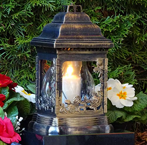 ♥ Grablampe Rosen Bronze Rustikal mit Grablicht 26,0cm Grabschmuck Grablaterne Grableuchte Kerze Grablicht Grabkerze Laterne Lampe Licht Schutzengel