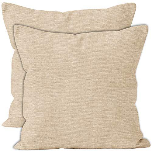 Encasa Homes Almohadas de Chenilla de Juego de 2 Piezas - Natural - 40 x 40 cm Color sólido Texturizado, Suave y Liso, Acento Cuadrado Cojín para el sofá, el sofá, la Silla