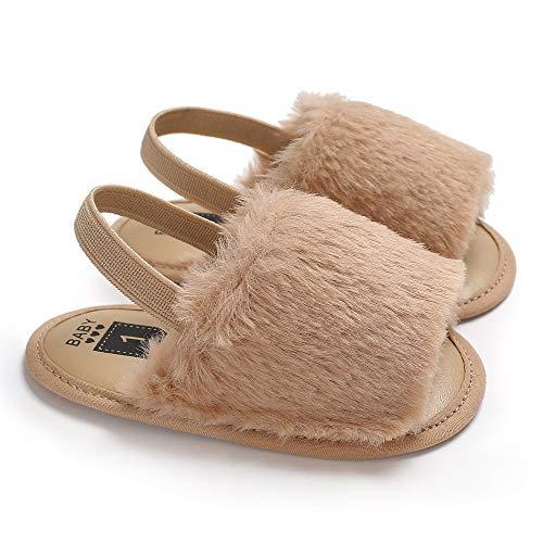 xingxing Zapatos de bebé de piel sintética de 0 a 18 m, bonitos zapatos para bebés y niñas prewalker con suela suave, cómodos zapatos para interiores (color: marrón, tamaño de zapato: 12 cm)