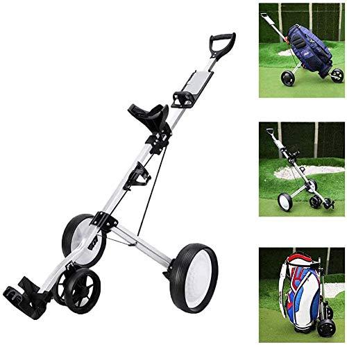 4 Roues Golf Push Cart Golf Chariots, voiturettes de Golf léger avec Tableau de Bord Porte-Couverture, 4 Roues Push Pull Golf Cart avec Frein Golf Accessoires
