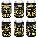 2021 Graduation Party Favor Decorations Supplies Graduation Can Sleeves Can Covers Black and Gold Neoprene Sleeves for Soda Beer Can Beverage Set of 12