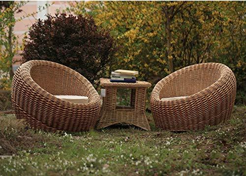 TRAACEM Conjunto De Muebles De Terraza Porche 3 Piezas Silla De Mimbre De Ratán PE Muebles De Jardín Al Aire Libre con Mesa