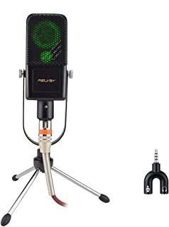 Studio Recording Microphone, FELYBY Condenser Broadcast Microphone w/Stand Built-in Sound Card Echo Recording Karaoke Singing for Phone Computer PC Garageband Smule Live Stream & YouTube (Black)