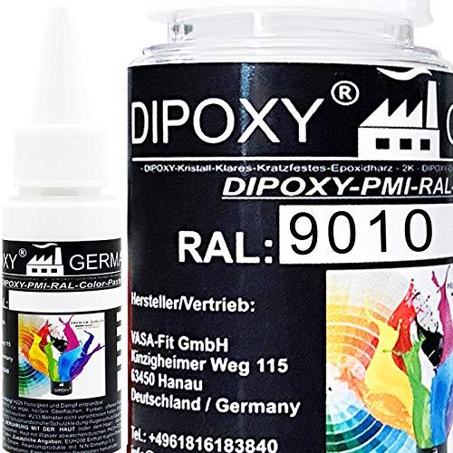 25g Dipoxy-PMI-RAL 9010 REINWEIß Extrem hoch konzentrierte Basis Pigment Farbpaste Farbmittel für Epoxidharz, Polyesterharz, Polyurethan Systeme, Beton, Lacke, Flüssigfarbe Kunstharz Schmuck