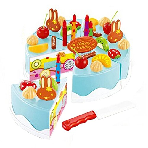 37 pièces de coupe de gâteau Pretend Play Set alimentaire pour les enfants,Bleu