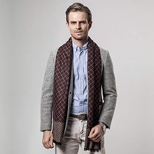 WSKWEIJ Winter Schals,Herbst Und Winter Fashion Men Schal Imitation Cashmere Classic Plaid Casual Dicke Warme Schals Kaffee