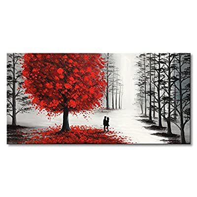 Hand Painted Oil Painting Black and White Landscape Canvas Wall Art with Red Tree for Living Room from Winpeak Art