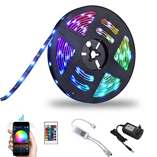 WIFI Tira LED Tira Iluminación Inteligente RGB 5M Bawoo 150 LED Cinta luminosa Wifi Tira luz Smart Strip LED Tiras Wifi Impermeable ALEXA Google Home IFTTT Teléfono Control Remoto 24 Teclas (Can 10m)