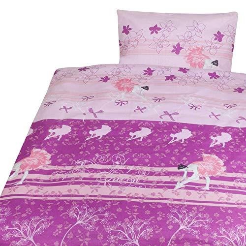 nxtbuy Kinderbettwäsche 100x135 cm aus Baumwolle Dessin Ballerina - 2-teilige Babybettwäsche für Mädchen und Jungen