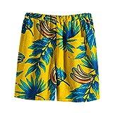 GDJGTA Men's Cotton and Linen Beach Pants Summer Fashion Casual Hawaii Printed Shorts Pants Swimwear Beach Bathing Suits (01 Yellow, XL)