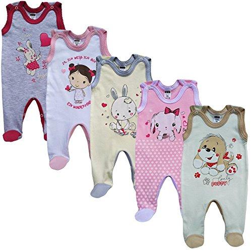 MEA BABY Unisex Baby Strampler mit Aufdruck aus 100% Baumwolle im 5er Pack. Baby Strampler für Mädchen Baby Strampler für Jungen (62, Mädchen)